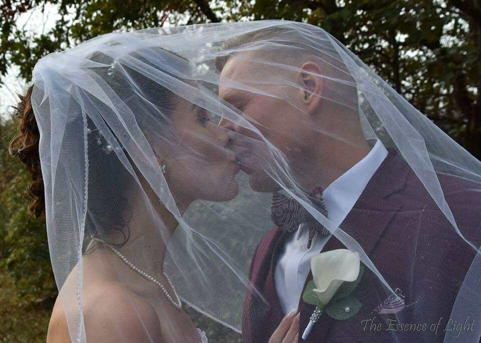 Wedding Couple Kissed